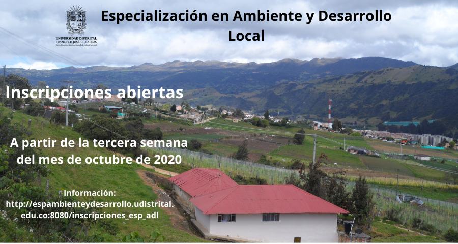 Inscripciones Especialización en Ambiente y Desarrollo Local
